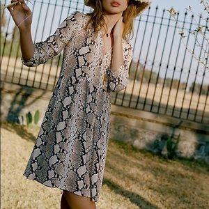 Maeve Juno Snakeprint Pullover Dress Boho S